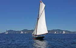 Vintage yacht at sea Stock Images