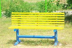 Vintage yellow bench royalty free stock photo