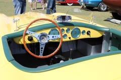 Vintage yellow British sportscar interior Royalty Free Stock Photography