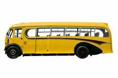 Vintage yellow bus, isolated. Vintage yellow school bus, isolated on white. With clipping path stock photos