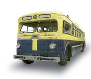 Vintage yellow bus isolated on white. Old, vintage yellow bus isolated on white background. 1940s - 1950s Stock Photos