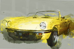 Vintage yellow cabriolet. Drawn illustration.  Royalty Free Stock Image