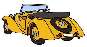 Vintage yellow cabriolet. Hand drawn vector illustration Stock Illustration