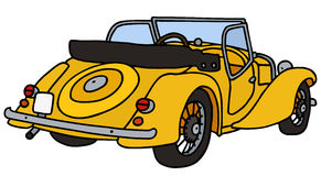 Vintage yellow cabriolet. Hand drawn vector illustration Royalty Free Illustration