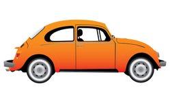 Vintage Yellow car. Vintage Yellow VW Bug  illustration Royalty Free Stock Images