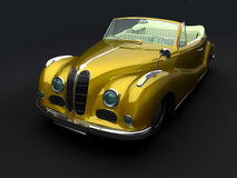 Vintage yellow car on black background Stock Image