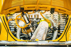 Vintage yellow car old engine Stock Images