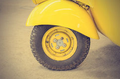 Vintage Yellow Car Wheel; Classic Vehicles (Filtered image proce. Ssed vintage effect Stock Photo