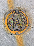 Vintage yellow gas manhole, energy details, Royalty Free Stock Photography