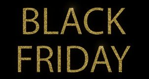 Vintage yellow gold metallic glitter black friday word text with light reflex on black background with alpha channel, concept stock video footage