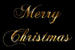 Vintage yellow gold metallic merry christmas word text with light reflex on black background with alpha channel, concept of golden Royalty Free Stock Image