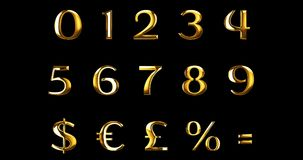 Vintage yellow gold metallic numeric letters word text series with dollar, percent, symbol sign on black background, concept