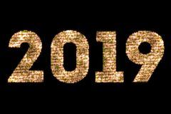Vintage yellow gold sparkly glitter lights and glowing effect simulating leds happy new year 2019 word text on black background wi. Th alpha channel, concept of Stock Photos