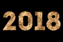 Vintage yellow gold sparkly glitter lights and glowing effect simulating leds happy new year 2018 word text on black background wi. Th alpha channel, concept of Stock Photo