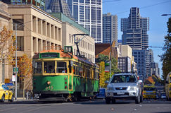 Vintage Yellow & Green Melbourne Tram in La Trobe Street Stock Photography