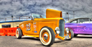 Vintage yellow hot rod Royalty Free Stock Images