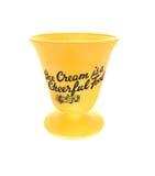 Vintage yellow ice cream dish isolated. Royalty Free Stock Photos