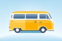 Vintage yellow minibus. Tourist coach in flat design Royalty Free Stock Image