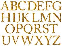 Vintage yellow mosaic font. Stock Image