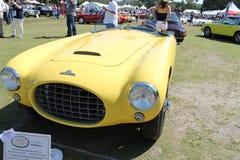 Vintage yellow racing car front Stock Photos