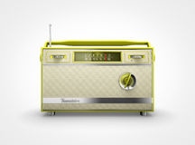Vintage yellow radio in front view. Front view of a vintage yellow radio Stock Image