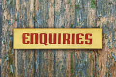 Vintage yellow with red enquiry placard Royalty Free Stock Photography