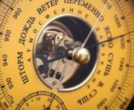 Vintage yellow Russian barometer Stock Image