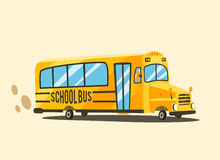 Vintage yellow school bus. Cartoon vector illustration Stock Photography