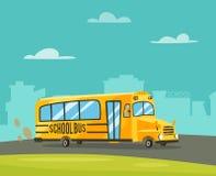 Vintage yellow school bus. Cartoon vector illustration Royalty Free Stock Photos