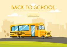 Vintage yellow school bus. Cartoon vector illustration Stock Photo