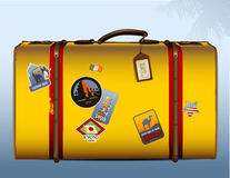 Vintage yellow suitcase. Realistic illustration of a vintage suitcase with stickers Royalty Free Stock Images