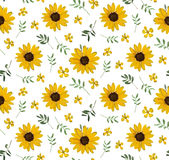 Vintage Yellow Sunflower tiny beautiful bright Flowers leaves Ba Stock Images