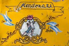 Vintage yellow tango sign in Mendoza, Argentina Stock Image