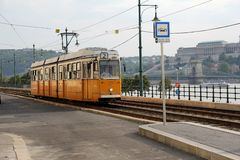 Vintage yellow tram. In Budapest, Hungary Royalty Free Stock Image