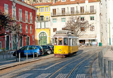 Vintage yellow tram Estrela 29 in Lisbon Royalty Free Stock Photos