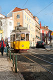 Vintage yellow tram 12 in Lisbon Royalty Free Stock Image