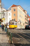 Vintage yellow tram 12 in Lisbon Royalty Free Stock Photography