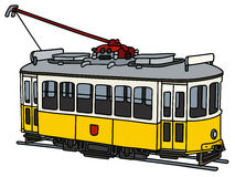 Vintage yellow tramway. Hand drawing of an old yellow and white electric tramway Royalty Free Stock Photos
