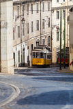 Vintage yellow tramway in Lisbon, Portugal Stock Photography