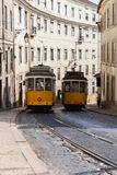 Vintage yellow tramway in Lisbon, Portugal Royalty Free Stock Photography