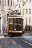 Vintage yellow tramway in Lisbon, Portugal Royalty Free Stock Photos