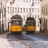 Vintage yellow tramway in Lisbon, Portugal Royalty Free Stock Images