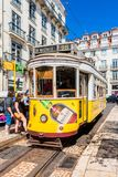 Vintage Yellow Tramway in Lisbon Portugal Royalty Free Stock Photos