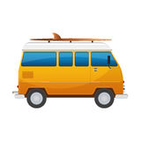 Vintage yellow travel minibus. Camper cartoon van. Tourist coach in flat design with surf board Royalty Free Stock Photography
