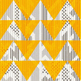 Vintage yellow triangles. Seamless pattern with grunge effect Royalty Free Stock Photos