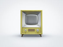 Vintage yellow TV in front view. Front view of a old vintage retro yellow television Stock Photo