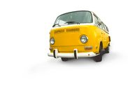 Vintage yellow van. A yellow vintage yellow VW van isolated on a whitte background.  Add your own text, copy or image to white space or front of vehicle Royalty Free Stock Photography