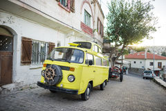 Vintage yellow van. Volkswagen vintage yellow van in Turkey Royalty Free Stock Photos