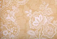 Vintage yellow wallpaper with victorian pattern. Vintage yellow wallpaper with vignette victorian pattern stock image