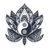 Vintage Yin y Yang en Lotus Fotografía de archivo